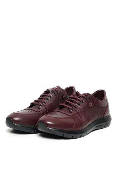 Cacharel Erkek Bordo Deri Sneaker Ayakkabı