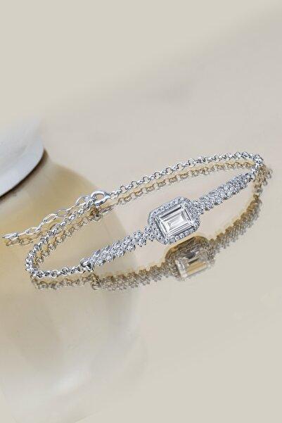 Else Silver Kadın Beyaz Pırlanta Modeli Baget Taşlı Gümüş Bileklik