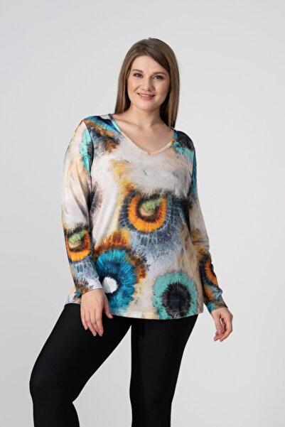 HEPİSİZE TEKSTİL Kadın Bej Renkli Batik Baskılı Tunik