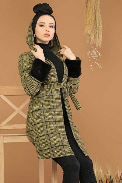 Pars Kadın Sarı Kolları Kürklü Tesettür Ceket