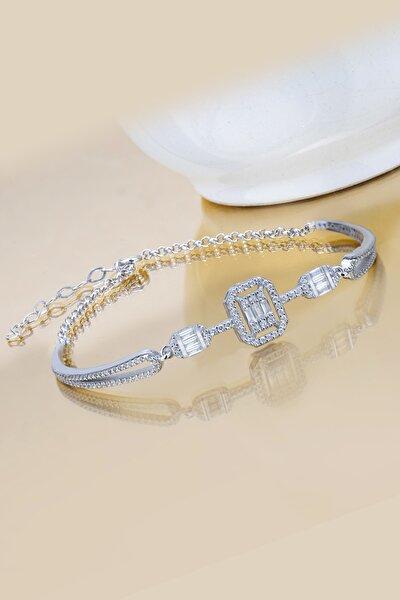 Else Silver Kadın Beyaz Tria Baget Taşlı Kelepçe Modeli 925 Ayar Gümüş Bileklik