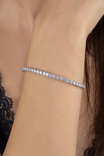 Else Silver Kadın Gümüş Pırlanta Modeli Aşk Yolu  Bileklik