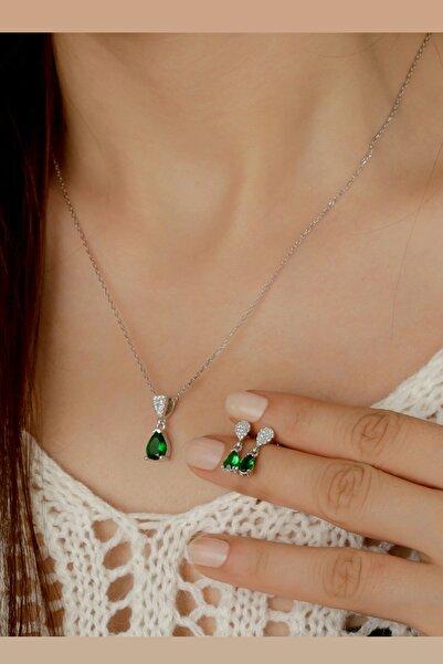 Else Silver Kadın Yeşil Damla Küpe Kolye Gümüş Set
