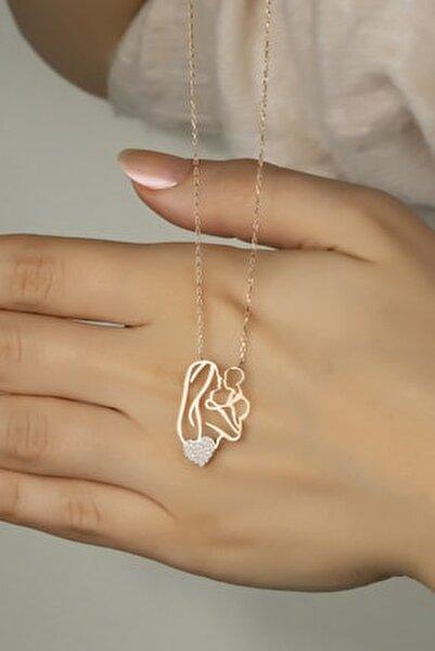 Kadın Pembe Ana Kucağı Gümüş Kolye