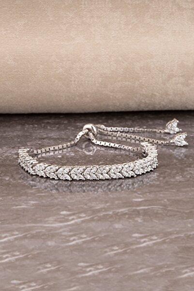 Else Silver Kadın Gümüş Mekik Taşlı Asansörlü Başak Bileklik
