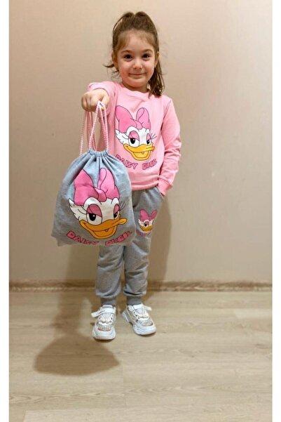 Nazar Kids Kız Çocuk Pembe Daisy Duck Desenli Eşofman Takımı