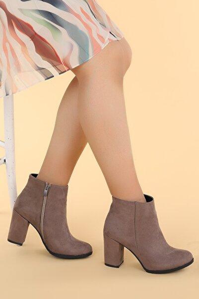 Ayakland Kadın Kahverengi Ymr 1325 Süet 9 Cm Topuklu Bot Ayakkabı