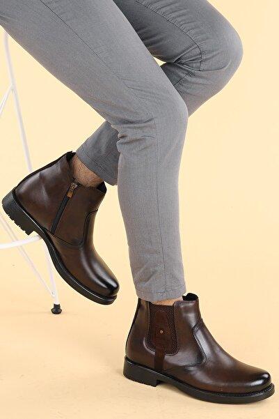 Ayakland Erkek Kahverengi Termo Taban Içi Kürklü Fermuarlı Bot Ayakkabı 651 Cms