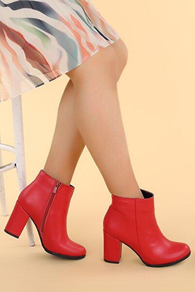 Ayakland Kadın Kırmızı  Cilt 9 Cm Topuklu Bot Ayakkabı Ymr 1325