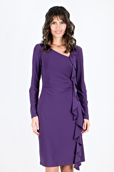 Spazio Kadın Mor Bristol Valonlu Likralı Elbise