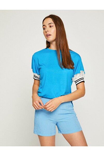 Koton Kadın Mavi T-Shirt 8YAK13826EK