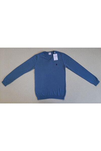 U.S. Polo Assn. Erkek Çocuk Mavi Triko Basic Kazak