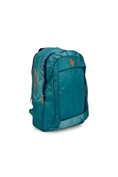 U.S. Polo Assn. Unisex Yeşil Renk Turuncu Işlemeli Lacivert Fermuarlı Okul Sırt Çantası 8263