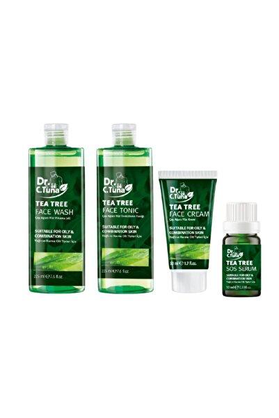 Farmasi Dr.c.tuna Çay Ağacı Yağlı Yüz Yıkama Jeli & Yüz Temizleme Toniği & Yağlı Sos Serumu & Yüz Kremi