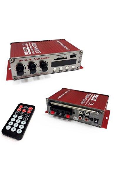 POLAXTOR Mini Fm Radyo 12v 400w Bluetoothlu Usb ve Sd Kart Girişli Oto Anfi