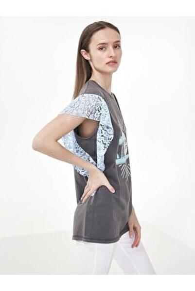 Kadın Gri Dantel Mixli Tshirt TS1200070160126