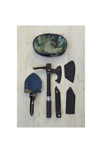 zeynes Katlanabilir Çelik Çekiç Kürek Balta Bıçak Çapa Testere Multitools Kamp Seti