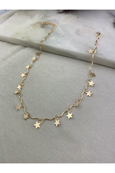 Accessories Lal Sarı Altın Kaplama Sıralı Yıldızlar Kolye Lbkl0065