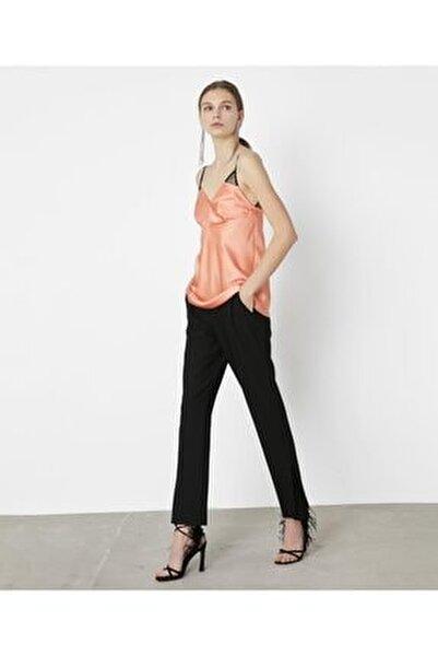 Kadın Turuncu Dantel Mixli Saten Bluz