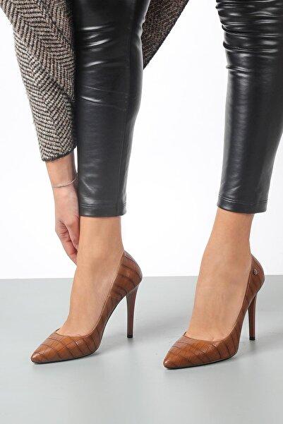 Gökhan Talay Kadın Taba Yüksek Topuklu Kroko Ayakkabı