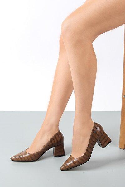 Gökhan Talay Kadın Vizon Kroko Topuklu Ayakkabı