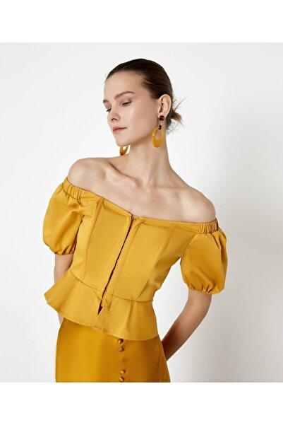 İpekyol Kadın Sarı Düşük Omuzlu Crop Bluz