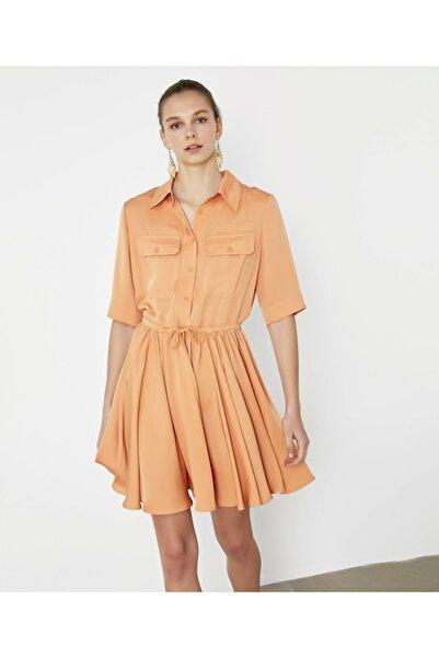 İpekyol Kadın Turuncu Ayarlanabilir Bel Elbise