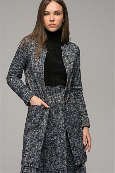 Cotton Mood Kadın Lacıvert Cam Kırığı Desenli Cepli Uzun Ceket 7487106