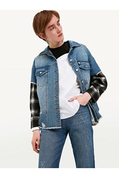 Twist Kadın Mavi Kumaş Mixli Jean Ceket