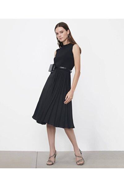 İpekyol Kadın Siyah Triko Mixli Elbise