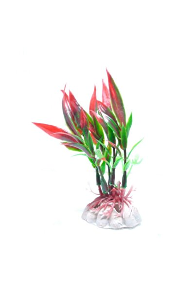Mino Gzg Akvaryum Plastik Bitki (kırmızı Yeşil) 6 Cm