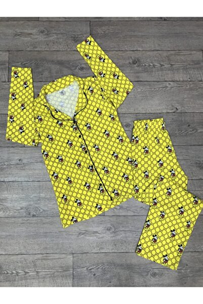 Sude Kadın Boydan Düğmeli Uzun Kollu Pijama Takımı