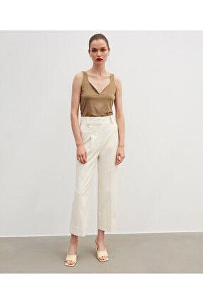 Kadın Ekru Yüksek Bel Pantolon