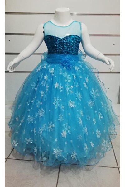 sarmaşık abiye Kız Çocuk Elsa Tarlatanlı Elbise