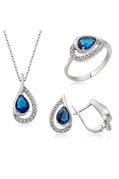 Gumush Gümüş Mavi Drop Bayan Set
