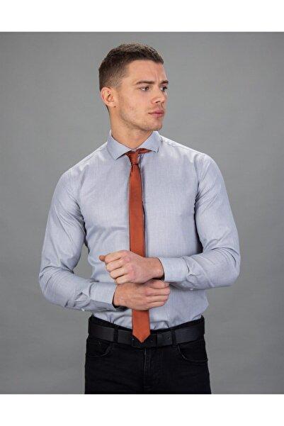 Tudors Erkek Gri Slim Fit Leke Tutmaz Gömlek