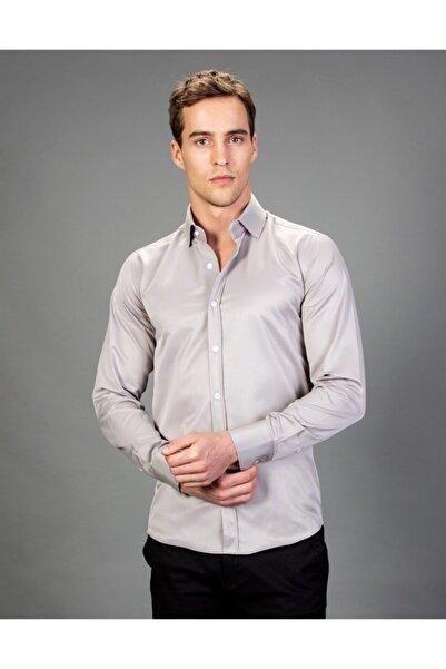 Tudors Erkek Açık Gri Slim Fit Gömlek