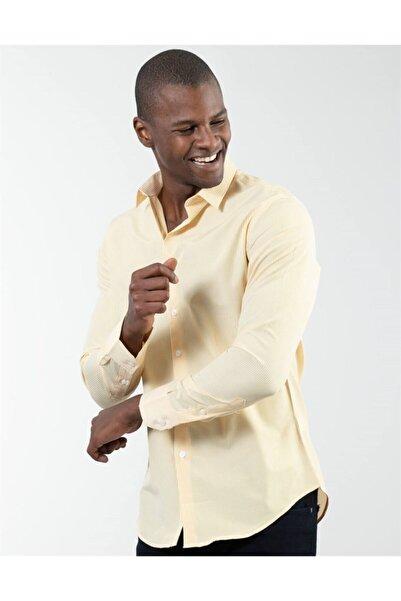 Tudors Erkek Sarı Slim Fit Çizgili Gömlek