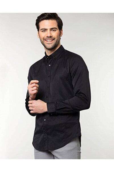 Tudors Erkek Siyah Slim Fit Likralı Gömlek
