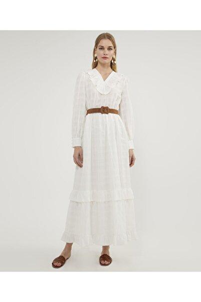 Aker Kadın Ekru Volanlı Elbise V42900102