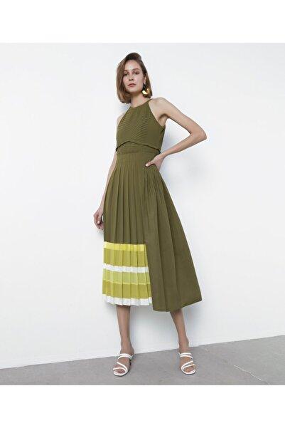 İpekyol Kadın Haki Piliseli Elbise IS1200002458022