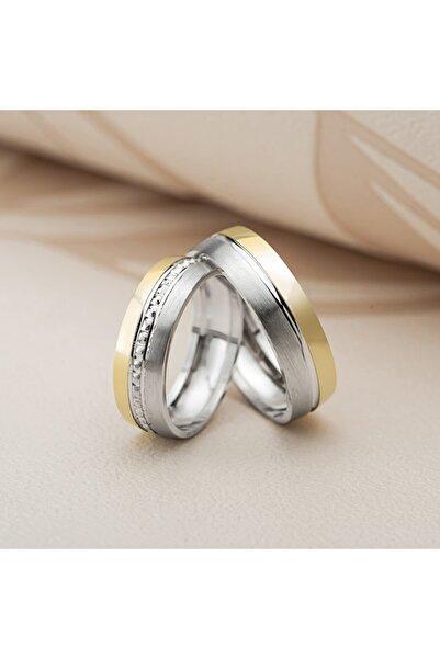 Gümüş Pazarım Altın Kaplama Taş Işlemeli Gümüş Alyans