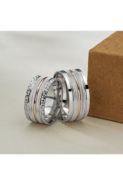 Gümüş Pazarım Şeritli Çift Renk Gümüş Alyans