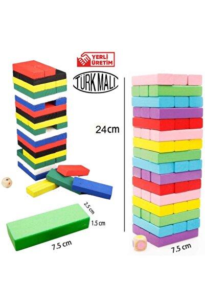 Dede Oyuncak Ahşap Jenga 54 Parça Denge Ve Beceri Oyunu Renkli Jenga Ahşap Renkli Denge Blokları Türk Malı Yerli