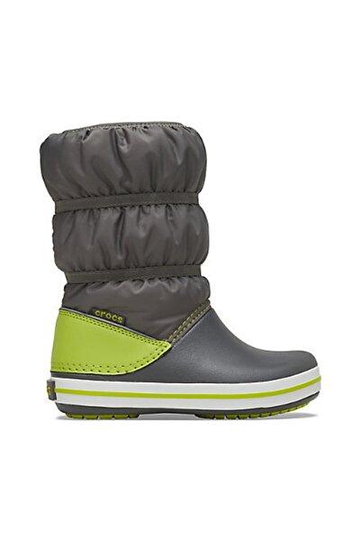Crocs Çocuk Winter Puff Boot Kids - Slate Grey/lime Punch