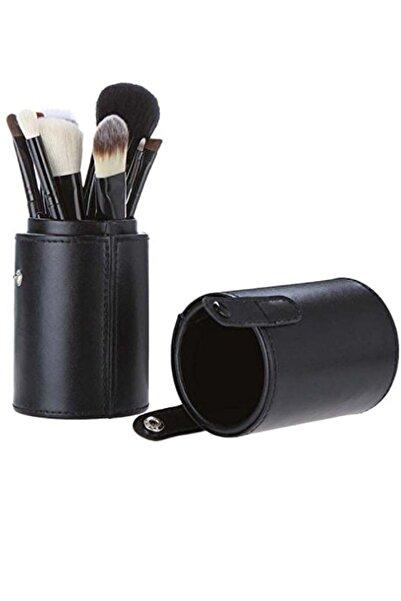 HANNAH 12 Parça Kupa Çantalı Makyaj Fırça Seti Siyah