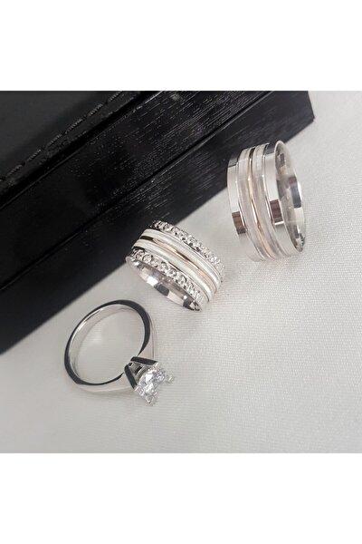 Gümüş Pazarım Şeritli Çift Renk Tektaşlı Gümüş Alyans
