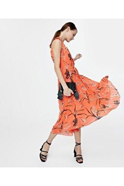 Kadın Turuncu Asimetrik Kesim Elbise