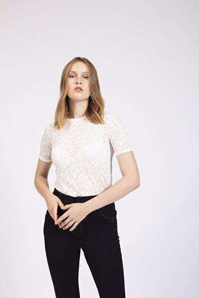 Hanna's by Hanna Darsa Kadın Ekru Transparan Basic T-shirt