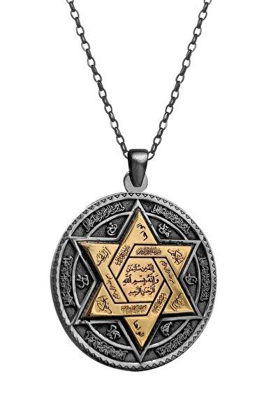 Anı Yüzük Kadın 925 Ayar Gümüş Kabartmalı Mührü Süleyman Kolye